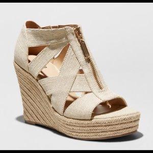 Emilee Zipper Wedge Espadrille Sandals